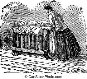 Woman transporting clothes on tricycle vintage engraving