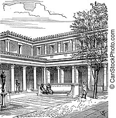 Courtyard of a Roman House, vintage engraving - Courtyard of...