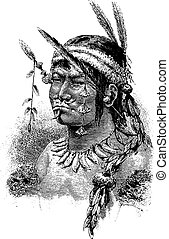 Coreguaje Indian of Amazonas, Brazil, vintage engraving -...
