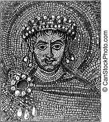 Justinian mosaic, vintage engraving. - Justinian mosaic,...