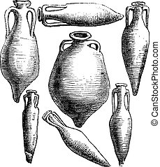 Greek and Roman amphora vases vintage engraving.