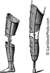 Artificial Legs, vintage engraving - Artificial Legs, shown...