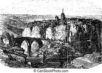 Cuenca in Spain, vintage engraving - Cuenca in Spain, during...