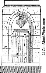 The gate of Cathedral of Our Lady of Chartres vintage engraving