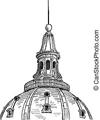Lantern of the dome of the Sorbonne in Paris, vintage engraving.