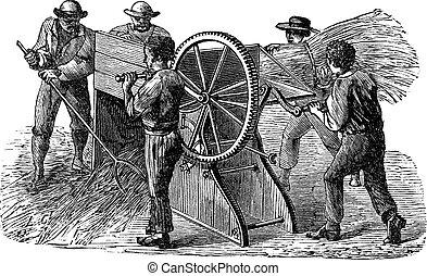 Five people using threshing machine also known as thrashing...