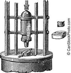 Stamping or Pressing Machine, vintage engraving - Stamping...