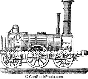 Steam locomotive, vintage engraving. - Steam locomotive,...