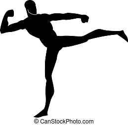 Martial Arts, illustration - Martial Arts, Black Silhouette...