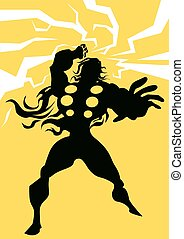 Thor, illustration - Thor, Black Silhouette of a Man, with...