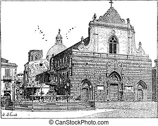 Cathedral of Messina, in Sicily, Italy, vintage engraving -...