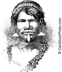 Carijona Indian of Amazonas, Brazil, vintage engraving -...