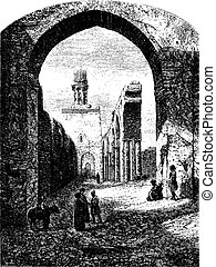 Ruins of the Mosque of Hakim-Biamr-Allah, Cairo, vintage engraving.