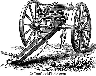 Galting gun vintage engraving Old engraved illustration of a...