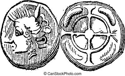 Ancien, celtique, drachme, monnaie, vendange, gravure,