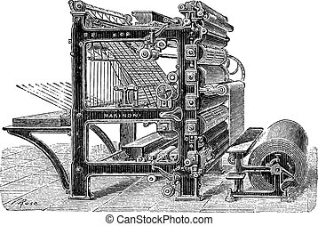 Marinoni Rotary printing press vintage engraving - Old...