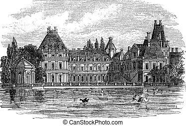 Fontainebleau Palace in Paris, France, vintage engraving