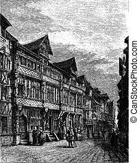 Old wooden houses in Lisieux (sixteenth century). - Drawing Catenacci, vintage engraving.