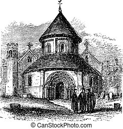 Church of the Holy Sepulchre, Cambridge, United Kingdom, vintage engraving.
