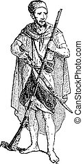 Kabyle, vintage engraving - Kabyle, shown carrying a long...