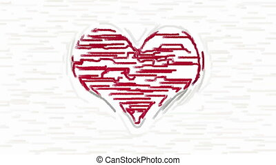 Paint brush strokes forms red heart - Horizontal paint brush...