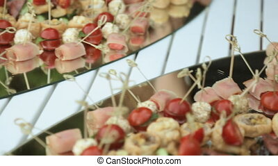 Tasty snacks on banquet catering - Tasty mouth-watering...