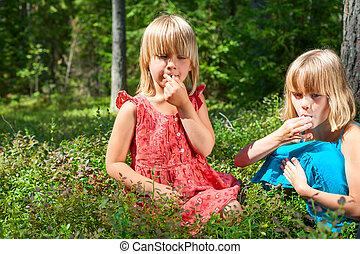Children picking berries in a summer forest - Two little...
