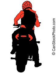 Motorcyclist back - People and sport bike on white...