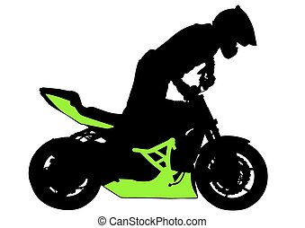 Sport motorcyclist man - People and sport bike on white...