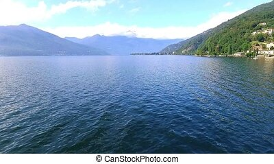 Flying on lake with drone - Aerial shot of lake maggiore