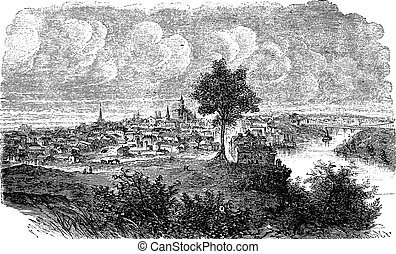 Nashville in Tennessee, USA, vintage engraved illustration....