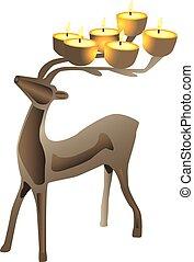 Deer shaped candelabra - Illustration of deer shaped...