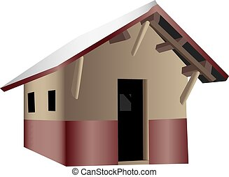 Shack - A 3D illustration of a wooden shack, isolated on a...