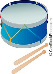 A toy drum with drumsticks