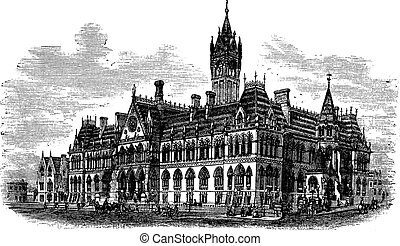Manchester Assize Courts in Strangeways Manchester England vintage engraving