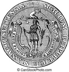 Great Seal of the Commonwealth of Massachusetts or the Seal of the Republic of Massachusetts, United States, vintage engraving