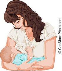 Vector of mother breastfeeding little baby. - Vector...