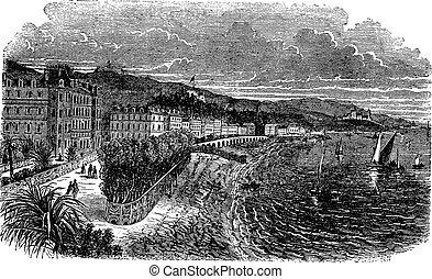 Promenade des Anglais in Nice, France, vintage engraved illustration