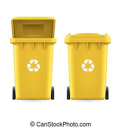 Buckets for trash - Set of yellow buckets for trash with...