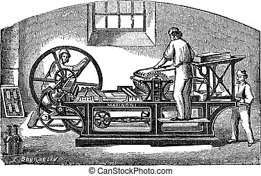 Marinoni  printing press vintage engraving