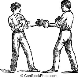 Two boxers in a fighting postion vintage engraving - Two...