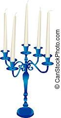 Candelabra - Vector illustration of a blue candelabra with...