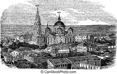 Temple of All Religions or Temple of the Universe, Kazan, Russia vintage engraving