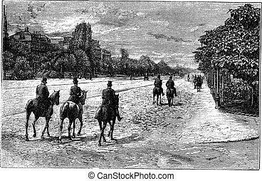 Avenue Foch or Avenue du Bois de Boulogne in Paris France vintage engraving