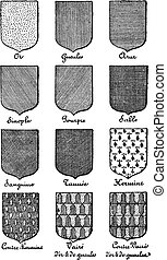 Variety of enterprise enamels used in Heraldry vintage...