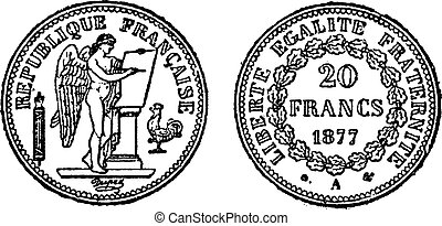 Gold coin of 20 francs, vintage engraving - Gold coin of 20...