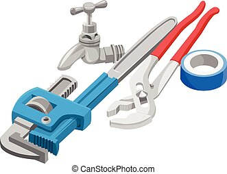 Vector of wrench, tap and adhesive tape - Vector...