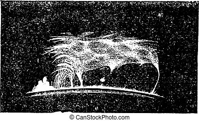 The view Solar prominence vintage engraving - The view of...