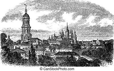 Pechersky Monastery, Kiev vintage engraving Old engraved...