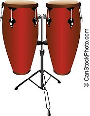 Pair of Conga Drums - Set of conga  or tumbadora drums.